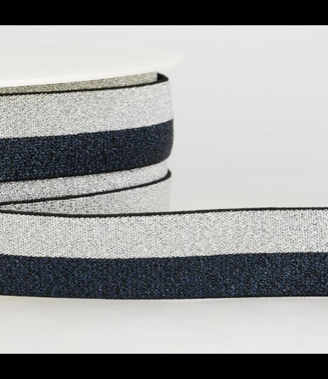 Elastiek two tone - blauw/zilver