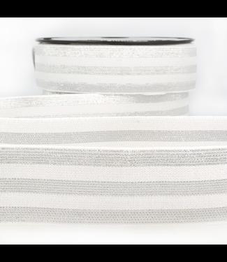 Elastiek lijnen - lurex wit/zilver