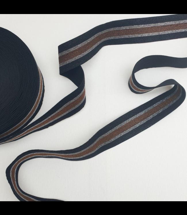 Elastiek 40 mm -  lurex zwart/bruin
