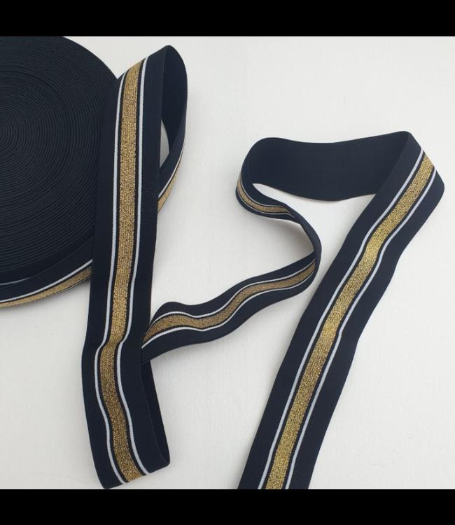 Elastiek 40 mm -  lurex zwart/goud