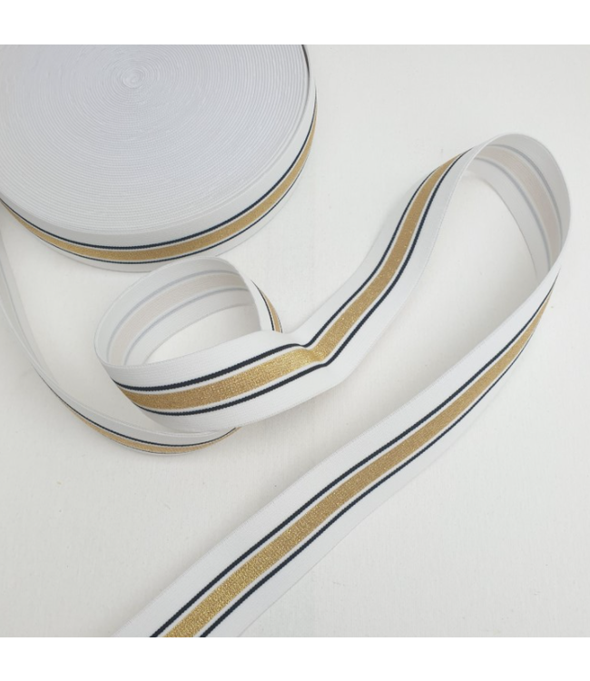 Elastiek 40 mm -  lurex wit/goud