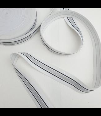 Elastiek 40 mm -  lurex wit/zilver