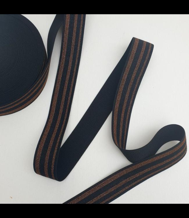 Elastiek 38 mm -  lurex zwart/bruin