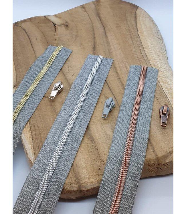 Spiraalrits 1 meter 3 runners - grijs metallic
