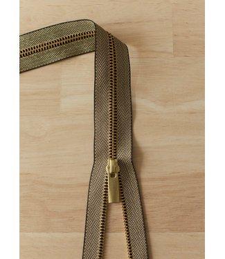 YKK Metaalrits visgraat - goud 40 cm