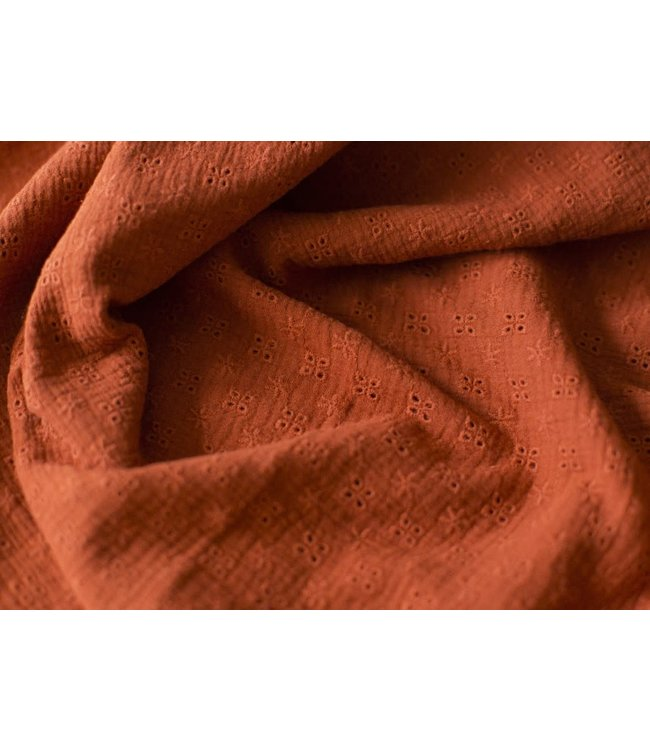 Broderie double gauze - roest