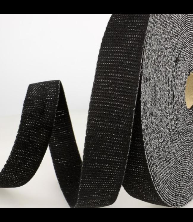 Tassenband 32 mm - zwart lurex zilver