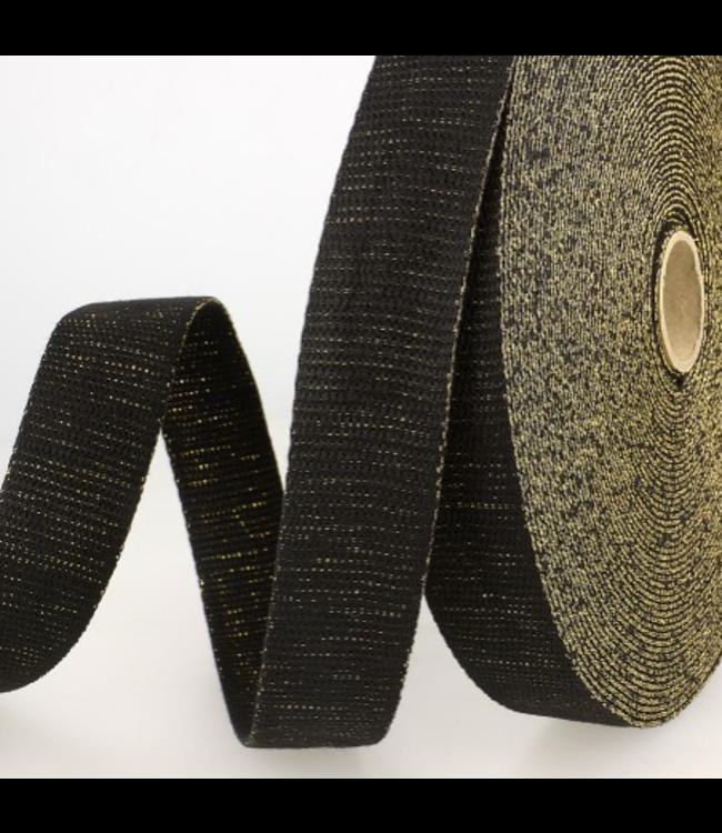 Tassenband 32 mm - zwart lurex goud