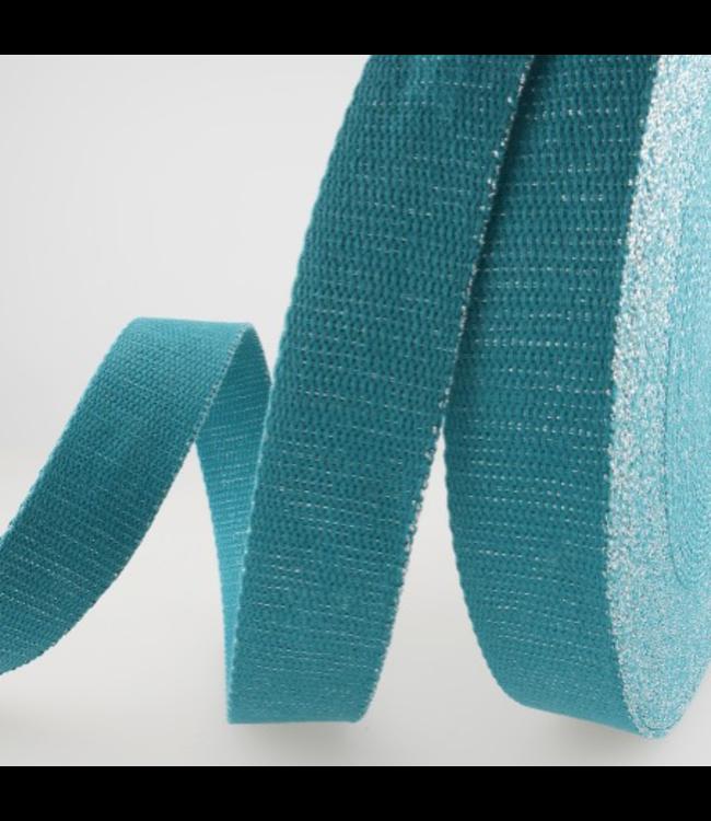 Tassenband 32 mm - turquoise lurex