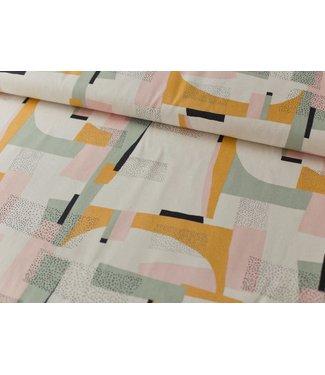 Katia Fabrics Canvas gold - abstract pink