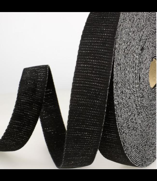 Tassenband zwart zilver