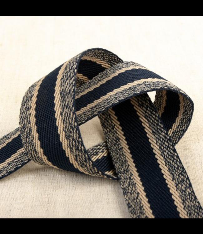 Tassenband sportieve lijnen - navy