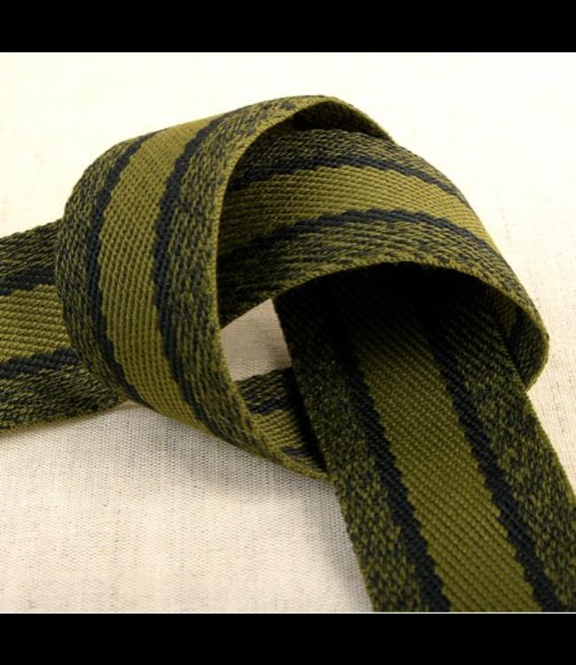 Tassenband sportieve lijnen - kaki