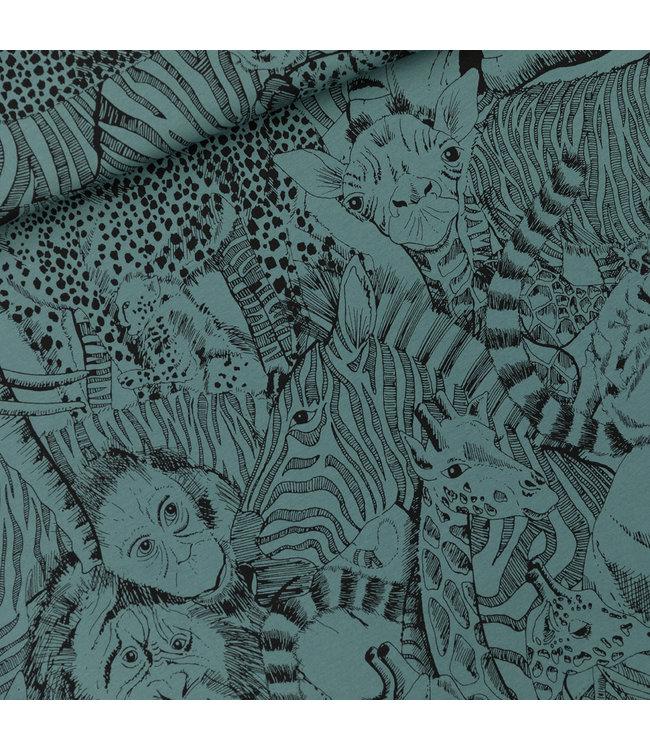 SYAS17 Wild animals french terry - noord-atlantisch blauw