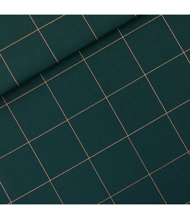 SYAS17 Thin grid katoen canvas gabardine twill - green gables
