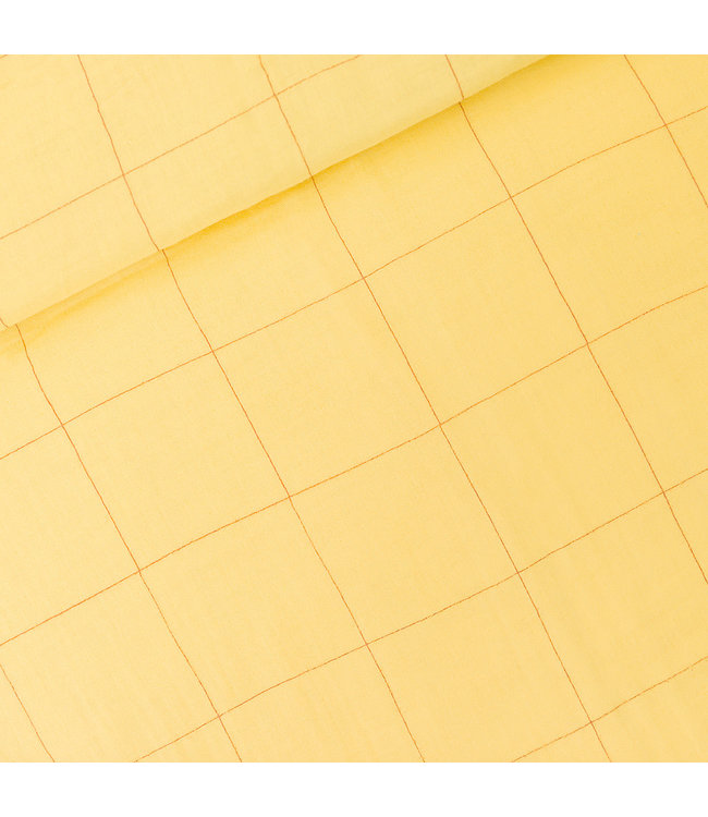 SYAS17 Thin grid double gauze - popcorn geel
