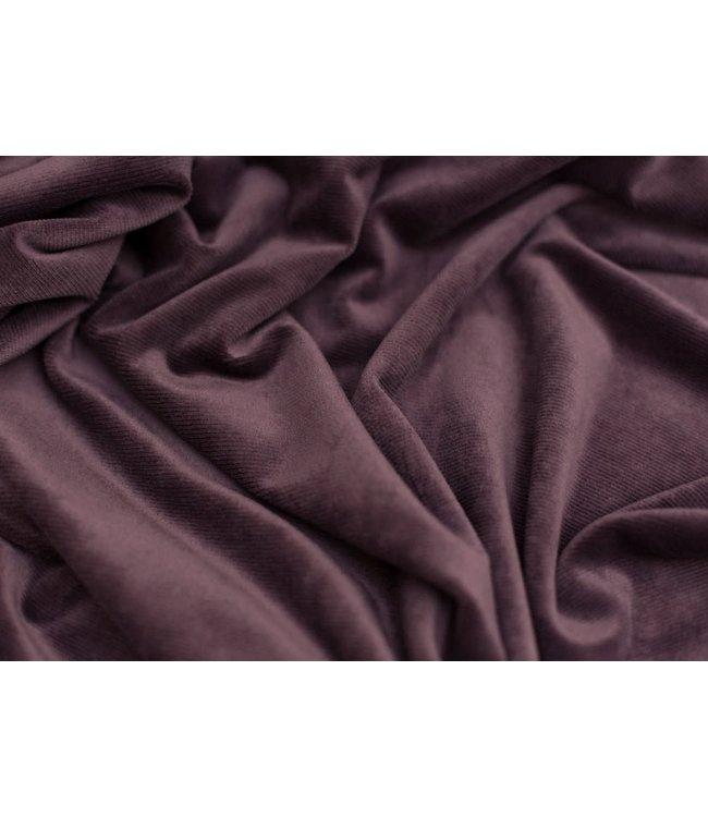 Velvet stretch rib - aubergine