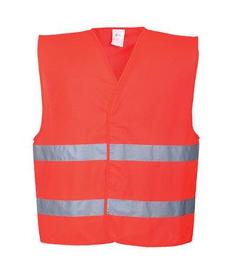 C474 - Hi-Vis Two Band Vest - Red - R