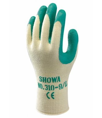 Showa 310 gloves in green with latex grip