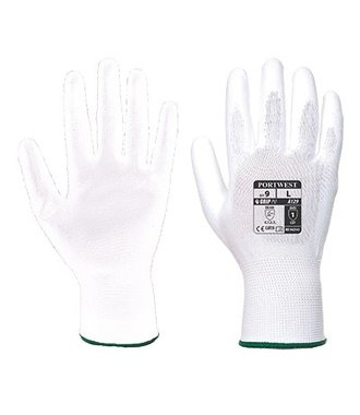 A129 - PU Palm Handschoen (12 pak) - White - R