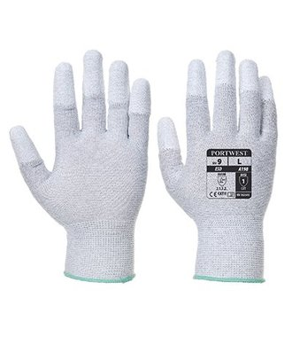 A198 - Antistatischer PU-Fingerspitzen Handschuh - Grey - R