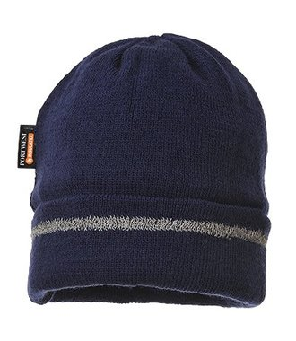 B023 - Reflective Trim Knit Hat Insulatex Lined - Navy - R