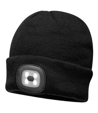 B029 - Bonnet Beanie avec LED rechargeable - Black - R