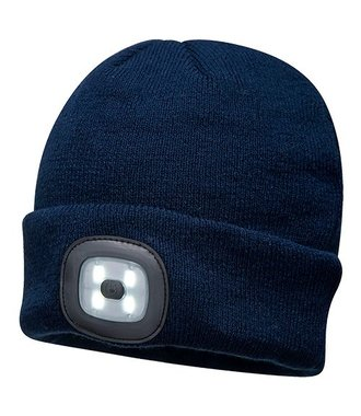 B029 - Bonnet Beanie avec LED rechargeable - Navy - R