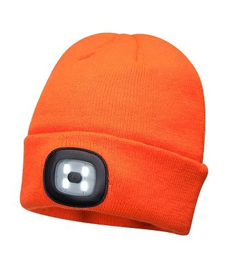 B029 - Bonnet Beanie avec LED rechargeable - Orange - R