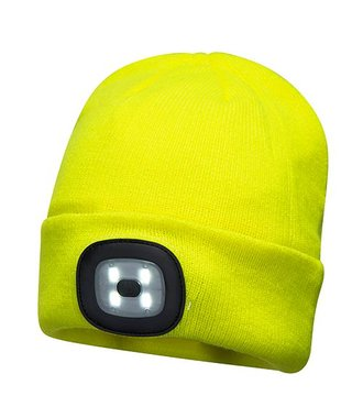 B029 - Bonnet Beanie avec LED rechargeable - Yellow - R