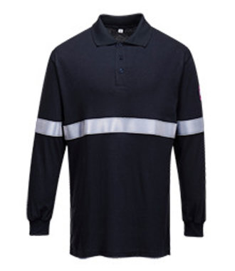 FR03 - Flame Resistant Anti-Static Long Sleeve Polo Shirt with Reflective Tape - Navy - R