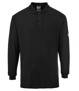 FR10 - Flame Resistant Anti-Static Long Sleeve Polo Shirt - Black - R
