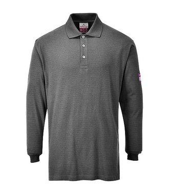 FR10 - Flame Resistant Anti-Static Long Sleeve Polo Shirt - Grey - R