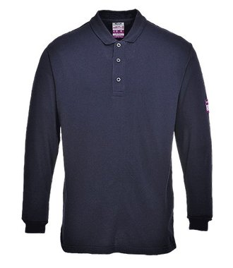 FR10 - Flame Resistant Anti-Static Long Sleeve Polo Shirt - Navy - R