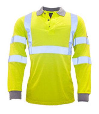 FR77 - Flame Resistant Anti-Static Hi-Vis Long Sleeve Polo Shirt - Yellow - R