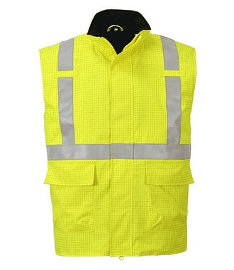 S776 - Bizflame Rain Hi-Vis Antistatic FR Bodywarmer - Yellow - R