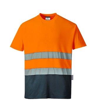 S173 - Tweekleuren Katoenen Comfort T-shirt - OrNa - R