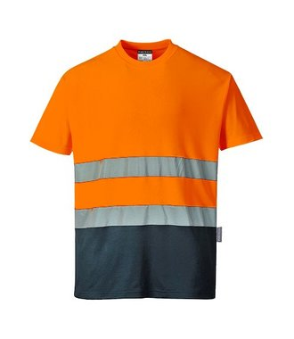 S173 - Two Tone Cotton Comfort T-shirt - OrNa - R