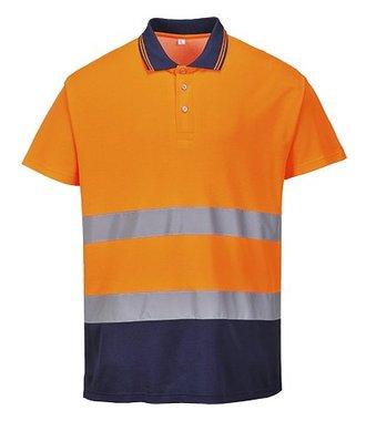 S174 - Zweifarbiges Baumwoll- Komfort Poloshirt - OrNa - R