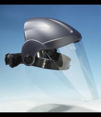 Gesichtsschutz, der das gesamte Sichtfeld vor Staub und Spritzern schützt, hergestellt in Deutschland