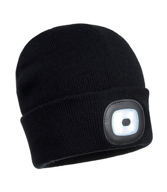 B028 - Rechargeable Twin LED Beanie - Black - R