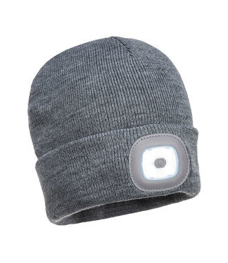 B028 - Rechargeable Twin LED Beanie - Grey - R