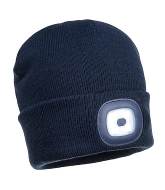 B028 - Rechargeable Twin LED Beanie - Navy - R