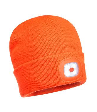 B028 - Bonnet Beanie double LED rechargeable - Orange - R