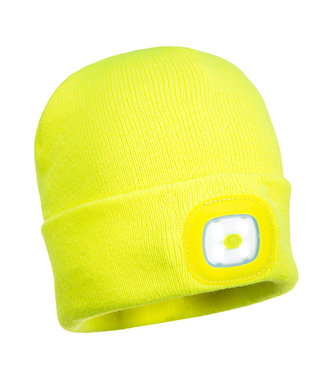 B028 - Rechargeable Twin LED Beanie - Yellow - R