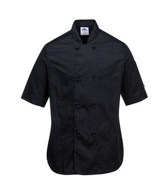 C737 - Rachel Ladies Short Sleeve Chefs Jacket - Black - R