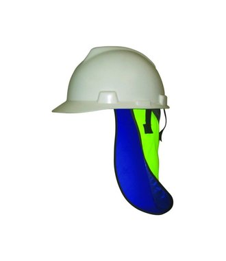 Evaporative head cooling under safety helmet with neck shade