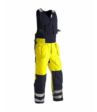 Winter Sleeveless overalls, High vis Yellow/navy blue