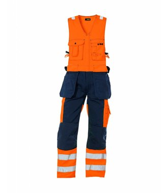 High vis sleeveless overall Orange/Navy blue