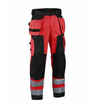 Highvisibility softshell craftsman trouser Red/black